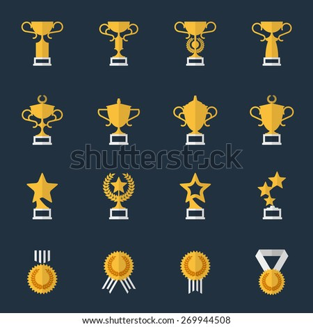 Award cups and trophy icons. Sport trophy, prize and award