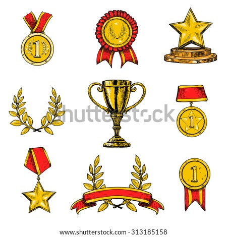 Award decorative sketch colored icons set of laurel wreath achievement star isolated  illustration