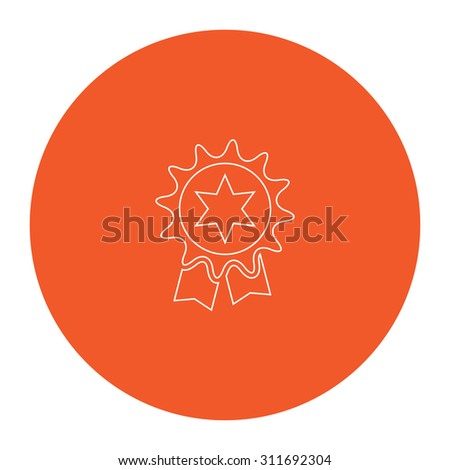 Award. Flat white symbol in the orange circle. Outline illustration icon - stock photo