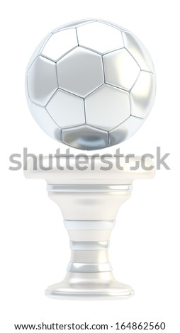 Award football, soccer sport silver trophy cup isolated over white background - stock photo