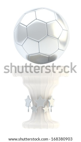 Award football, soccer sport silver trophy cup isolated over white background