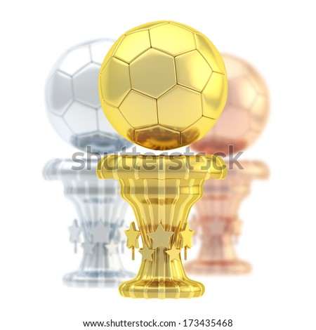 Award football, soccer sport trophy composition of golden, silver and bronze cups isolated over white background - stock photo