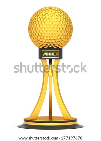 Award golf ball sport isolated on a white background - stock photo