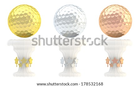 Award golf ball sport trophy set of golden, silver and bronze cups isolated over white background - stock photo