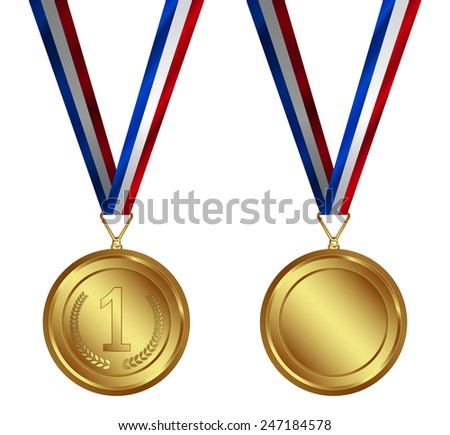 Award medal with Ribbon isolated on white. - stock photo