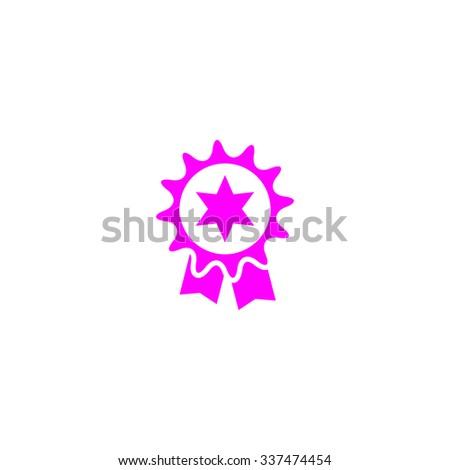 Award. Pink icon on white background. Flat pictograph - stock photo