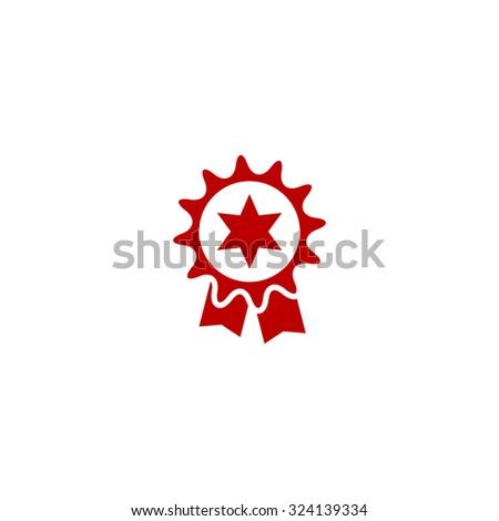 Award. Red flat icon. Illustration symbol on white background - stock photo
