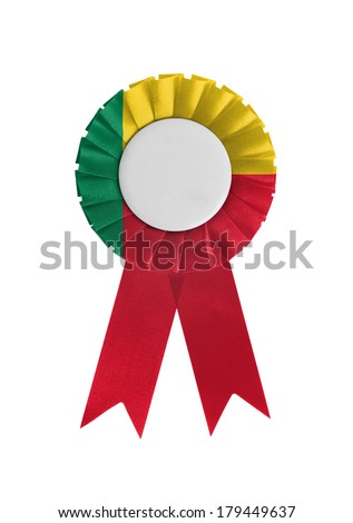 Award ribbon isolated on a white background, Benin