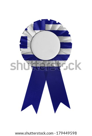 Award ribbon isolated on a white background, Greece