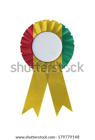 Award ribbon isolated on a white background, Guinea