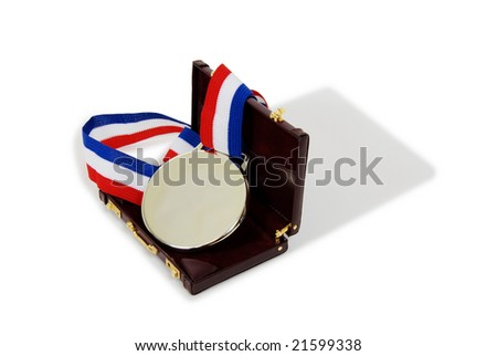 Award ribbon with gold medallion, burgundy leather Briefcase used to carry items to the office