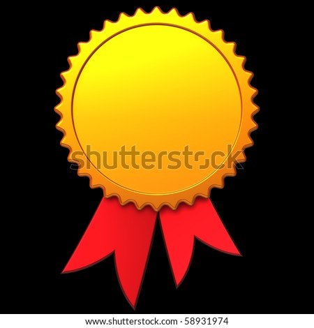 Award ribbon with place for your text. 3D render - stock photo