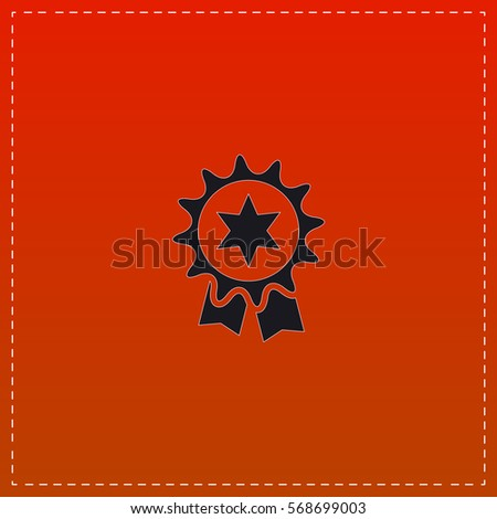 Award Simple flat button. Black icon on red background. Illustration symbol