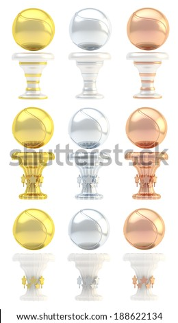 Award tennis ball sport trophy set of golden, silver and bronze cups in three design variations isolated over white background - stock photo