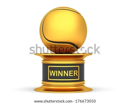 Award tennis ball  trophy cup isolated on a white background - stock photo