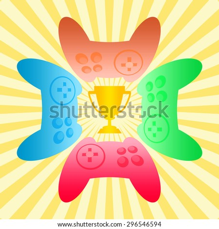 Award trophy cup and colorful joysticks to gamer tournament on a shining background - stock photo