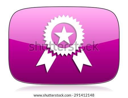 award violet icon prize sign original modern design for web and mobile app on white background with reflection  - stock photo