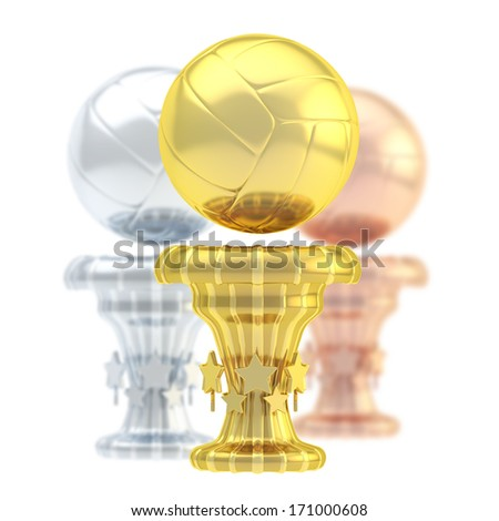 Award volleyball sport trophy composition of golden, silver and bronze cups isolated over white background - stock photo