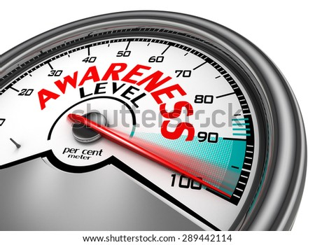 awareness level conceptual meter indicate hundred per cent, isolated on white background - stock photo