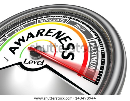 awareness level conceptual meter, isolated on white background - stock photo