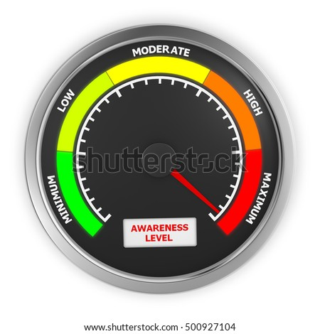 awareness level to maximum conceptual meter, 3d rendering