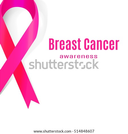 Awareness Pink Ribbon. The International Symbol of the Fight Against Breast Cancer.  Illustration.
