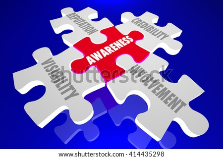Awareness Reputation Visibility Credibility Involvement Puzzle Pieces 3d Illustration - stock photo
