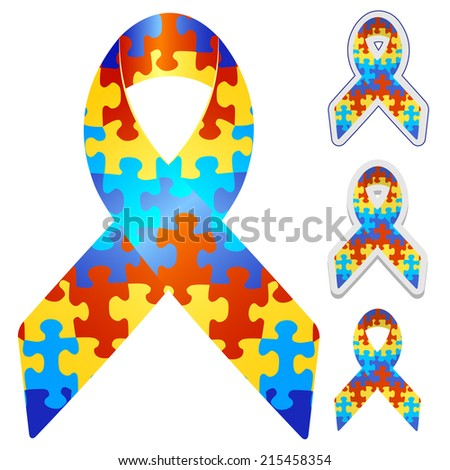 awareness ribbons set - stock photo