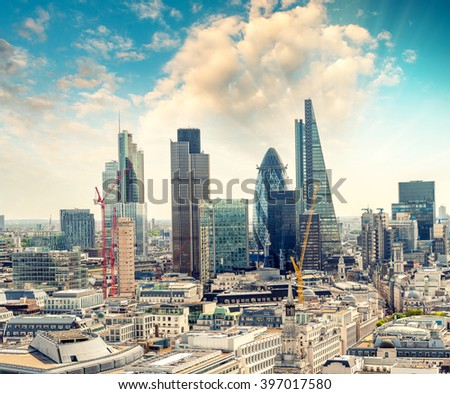 Awesome aerial skyline of London, UK. - stock photo