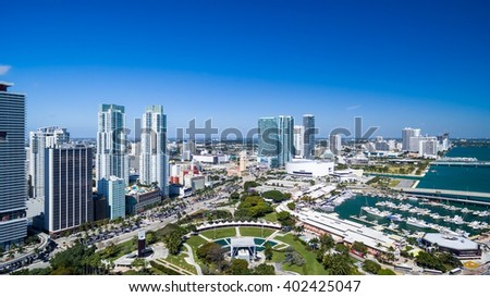 Awesome aerial view of Miami skyline from helicopter.