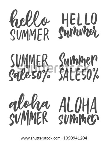 Awesome Brush Letering Hello Summer , Summer Sale , Aloha Summer