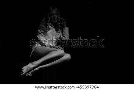 Awesome caucasian attractive sexy professional female model with blond hair posing - stock photo