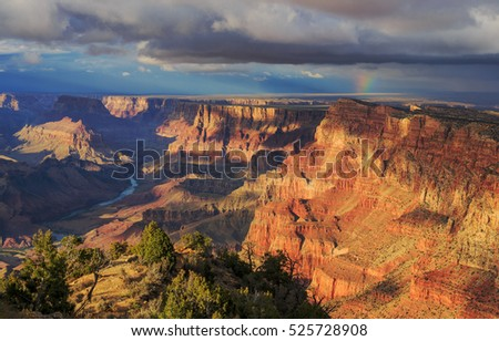 Awesome Landscape from South Rim of Grand Canyon, Arizona, United States