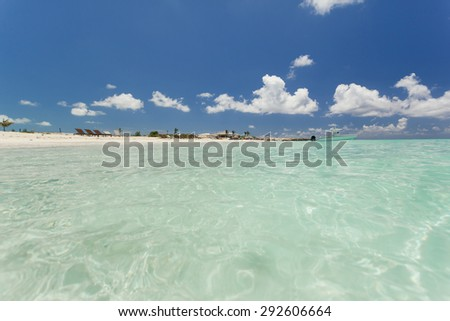 Awesome photo of a blue skyline over the clear water beach. - stock photo