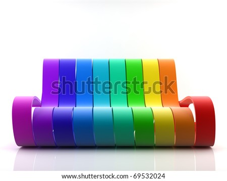 Awesome rainbow couch on white background - stock photo