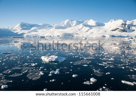 Awesome seascape in Antarctica - stock photo