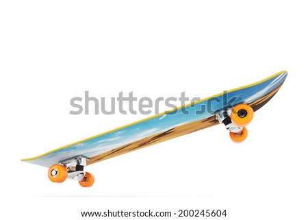 Awesome skateboard on air - stock photo