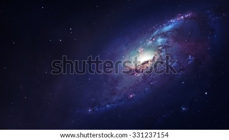 Awesome spiral galaxy many light years far from the Earth. Elements furnished by NASA - stock photo