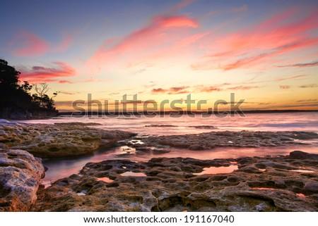 Awesome sunset from Murrays Beach, Australia - stock photo