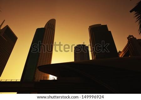awesome sunset over Dubai, Unaited Arab Emirates - stock photo