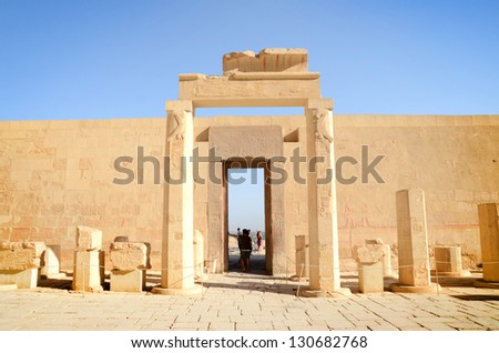 Awesome Temple of Queen Hatshepsut (1508-1458 BC), between the Valley of Kings and the Valley of Queens, in Luxor (Ancient Thebes), Egypt. - stock photo