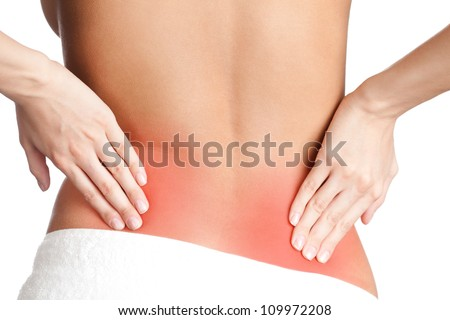 Awful backache, isolated, white background - stock photo