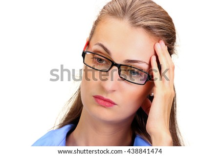 Awful headache. Mature business woman holding head in hands and keeping eyes closed while standing against white background - stock photo
