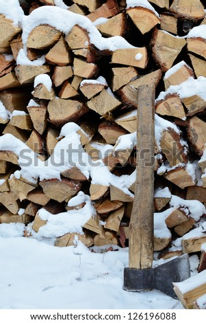 Ax and Firewood - stock photo