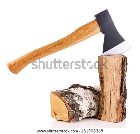 Ax and firewood, isolated on white - stock photo