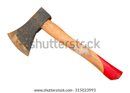 Ax with wooden handle isolated on white background