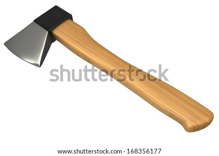 ax with wooden handle. isolated on white background. 3d