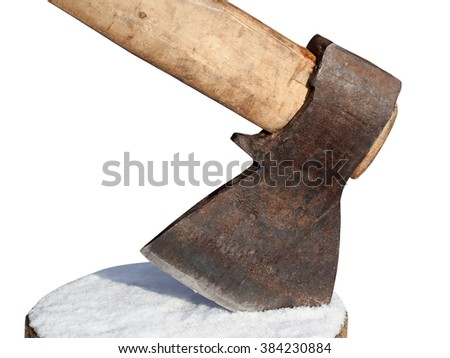 Axe and log with snow. Isolated on white background. Close-up view. - stock photo