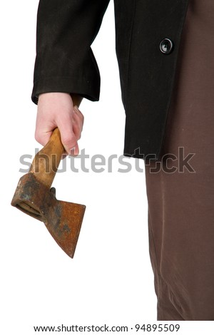 Axe in the hand - stock photo
