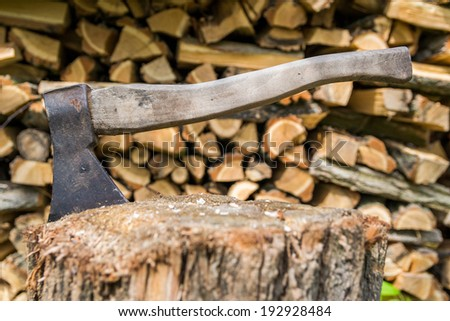 Axe stuck in tree - stock photo